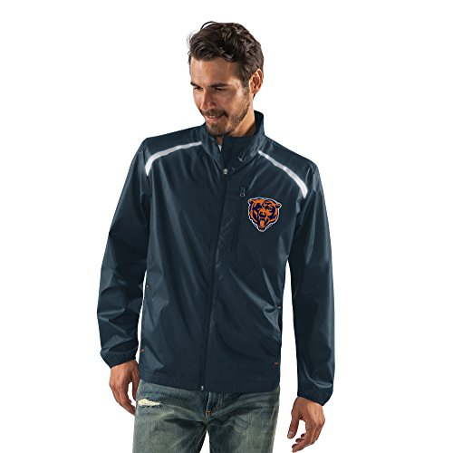 Licensed Zip Jacket Full (NFL Chicago Bears Men's Storm Full Zip Packable Jacket, Large, Navy)