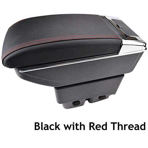 Dual-Layer Black Leather Arm Rest For 2009-2017 Fiesta Centre Console Storage Box Armrest XUKEY