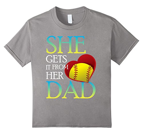 Kids She Gets It From Her Dad Shirt Softball Dad T-Shirt  6 Slate (Sexy Softball Player)