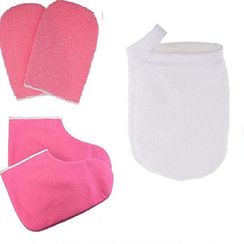 Fityle Paraffin Wax Bath Terry Cloth Gloves Booties, Wax Skin Care Cotton Mittens, Heat Waxing Spa Treatment Mitts, and 3pcs Face Cleansing Gloves Makeup Remover Cloth Pad