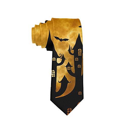 Halloween Polyester Neckties, Slim Happy Halloween Night Moon Castle Bat Pumpkin Necktie, Men & Boys Slim Suit Outfit Ties, Elegant and Smooth for Bridegroom, Wedding Party Decoration Gift Ties