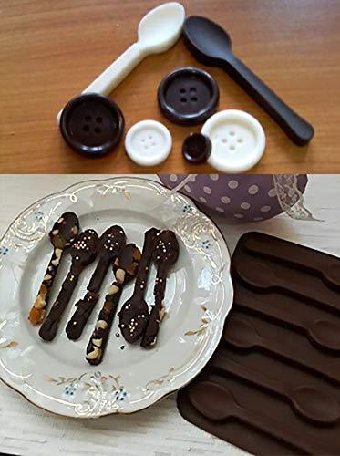 Cuchara de silicona chocolate molde 6 cavidades Candy para moldes DIY especialidad, 2 unidades, color marrón: Amazon.es: Hogar