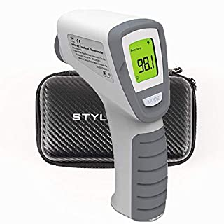 Infrared Digital Non-Contact Thermometer Gun with Three Color LCD Screen for Adult and Baby Forehead, Ear and Body Temperature with Fever Alarm and Memory Function Plus Free Protective Case