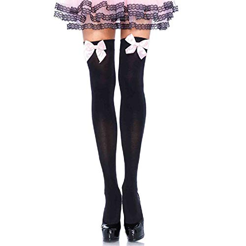 Leg Avenue Womens Satin Bow Accent Thigh Highs (Opaque Over Knee Socks)