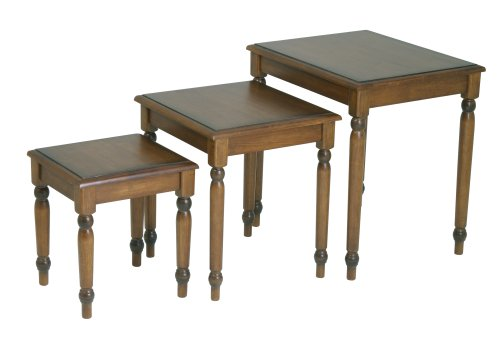 OSP Designs Knob Hill Collection 3-Piece Nesting Tables, Antique Cherry Finish