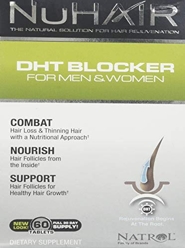 NuHair DHT Blocker Hair Regrowth Support Tablets for Men and Women - 60 -