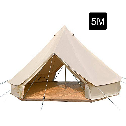 PlayDo 5M/16.4ft Waterproof Cotton Canvas Bell Tent Large Family Luxury Glamping Tent with 2 Doors