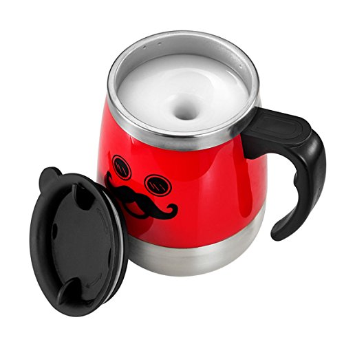 LEADNOVO Self Stirring Coffee Mug Electric Stir Stainless Steel Automatic Self Mixing Cup for Morning Office Travelling 450ml/15.2oz (Red)