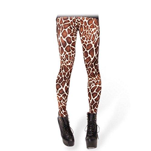 KINDRED Novel ladies leisure leggings concise 3D digital print Tights Giraffe stripes pattern skinny pants ninth pants ()