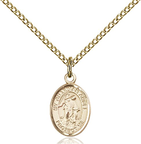 Patron Saints by Bliss 14K Gold Filled Guardian Angel Petite Charm Medal, 1/2 Inch ()