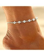 Handcess Boho enkelbandje zilver kristal enkelarmbanden Rhinestone voetketting voor vrouwen en meisjes