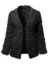 Made By Emma Casual Warm Soft Fluffy Faux Fur Winter Jacket Coat Outwear Black S