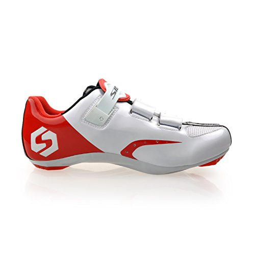 Smartodoors Sidebike SD002 Mens All-Around Road Cycling Shoes with Nylon Soles SD01-Road-White/red eI2h4
