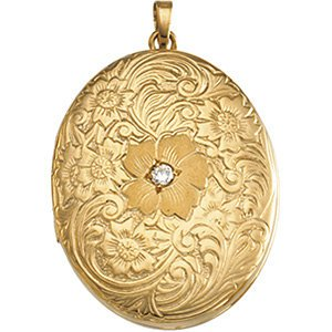 14k Yellow Gold Marquise Diamond and Rose Locket (.04 Ct, G-I Color, I3 Clarity) by The Men's Jewelry Store (for HER)