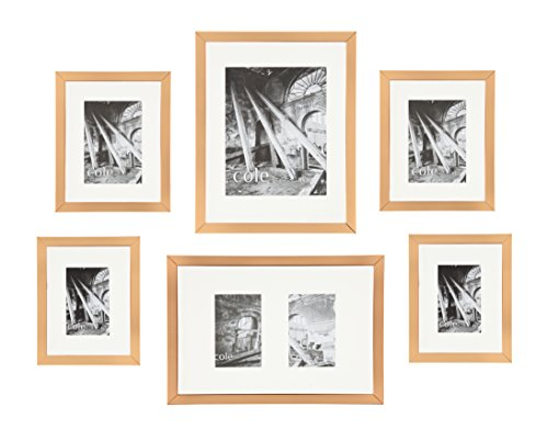 Copper Photo Frame (Philip Whitney 6-piece Copper Metallic Wall Hanging Gallery Art Photo Picture Frames Horizontally or Vertically)