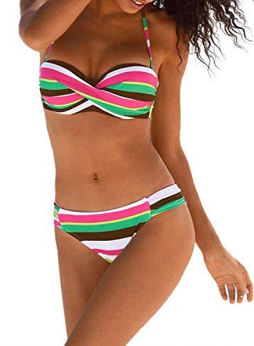 Padded Twist Bandeau - Sidefeel Women Stripes Halter Push Up Twist Bandeau Bikini Set Two Piece Swimsuits Large Green