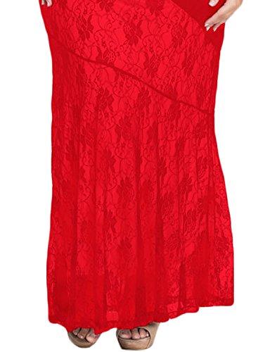 ACHICGIRL Women Chic Red Lace Trim Plus Size Mermaid Prom Dress Red