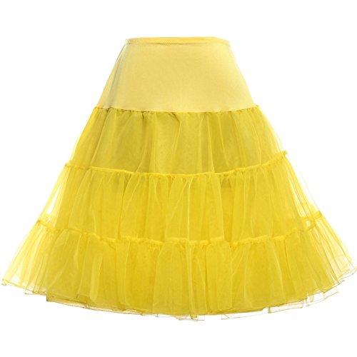 GRACE KARIN Vintage Womens 50s Tutu Skirt Petticoat Yellow Size L]()