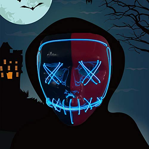 Halloween Mask,LED Masks Glow Scary Mask Light Up Cosplay Mask Rave Mask for Festival Music Party Parties Costume Christmas (Halloween mask for Bule 5)