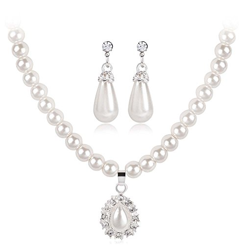 Elegant Simple Pearl Strands Necklaces Pendant Necklaces for Women Temperament Pearl Necklace Bracelet Stud Earrings Three-Piece Set Women Prom Wedding Party Bridal Jewelry Multi-Styles