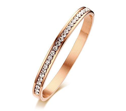 Stainless Steel Circle of Crystal Eternity Hinge Bangle Bracelets for Women, Rose (Gold Eternity Bangle)