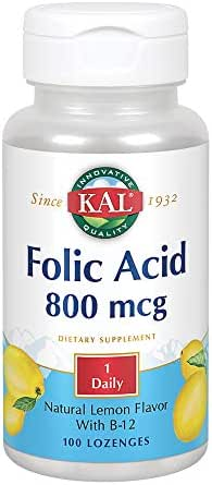 KAL Folic Acid & B12 Lozenges   Lemon Flavor   Healthy Support for Pregnant Women & Normal Blood Cells, 100ct, 100 Serv.