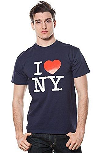 I Love NY Mens Short Sleeve T-Shirt Navy (Large)