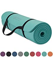 Gaiam Essentials Thick Yoga Mat Fitness & Exercise Mat With Easy-Cinch Yoga Mat Carrier Strap