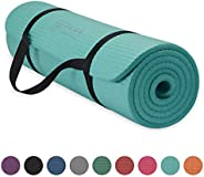 """Gaiam Essentials Thick Yoga Mat Fitness & Exercise Mat with Easy-Cinch Yoga Mat Carrier Strap, 72""""L x"""