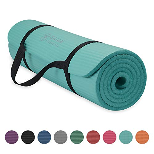Gaiam Essentials Thick Yoga Mat Fitness Exercise Mat with Easy-Cinch Yoga Mat Carrier Strap 72 L x 24 W x 2 5 Inch Thick