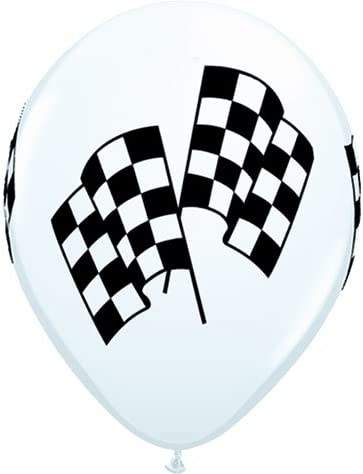 50 Checkered Racing Flag Balloons White Latex Made in USA