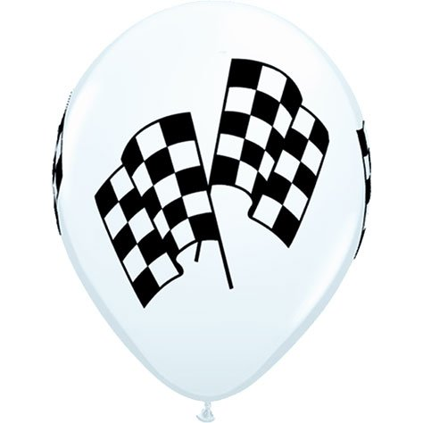 50 Checkered Racing Flag Balloons White Latex - Made in USA