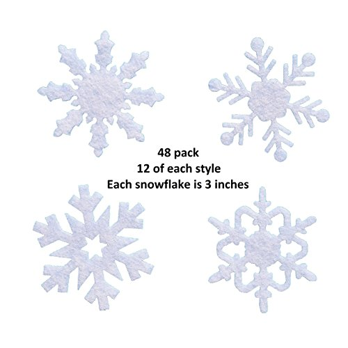 Pack of 48 3 inch Felt Snowflake Shapes by Wildflower Toys