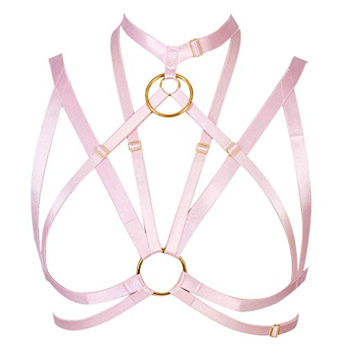 Strappy Harness Bra Hollow Out Cupless Cage Body Belt Gothic Dance Festival Rave Wear Plus Size (Pink) -