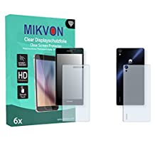 6x Mikvon Clear Screen Protector for Huawei Ascend P7 Front and back side - Retail Package with accessories (3x FRONT and 3x BACK)