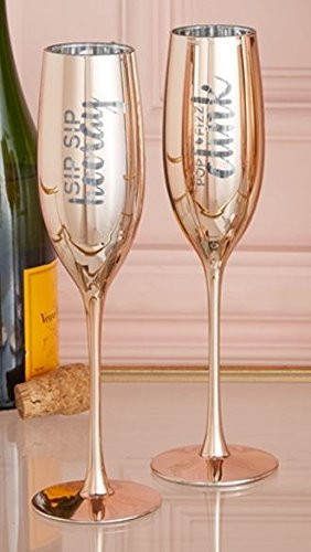 Sip Pop - Two's Company Set of 2 Metallic Glass Champagne Flutes (Sip Sip/Pop Fizz)