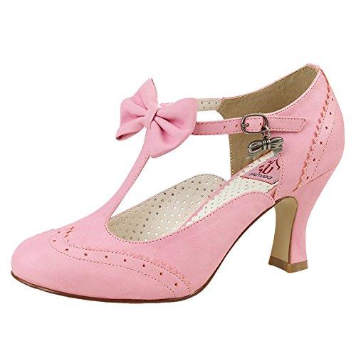 T-Strap Pumps, Damen, Pink (Pink) Pink (Pink)