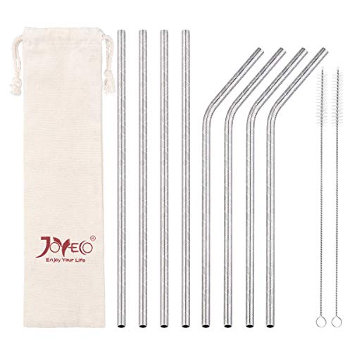 JOYECO 8 Pcs Stainless Steel Reusable Straws, Vintage Style Drinking Straw, 8.5