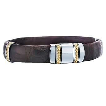 J Goodman Exotic Mens Leather Men's Bracelet - Black/Silver/Gold