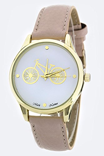 Chic Chelsea Bicycle Crystal Dial Fashion Watch (Beige)