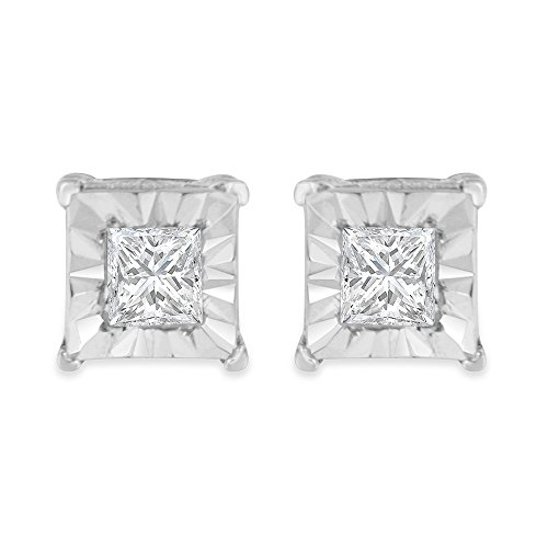 Sterling Silver Princess Diamond Solitaire Stud Earrings ( cttw, I-J Color, I2-I3 Clarity) by Original Classics
