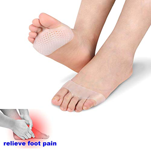 Metatarsal Pads Ball of Foot Cushions, Toe Separators, Toe Separators Stretchers, Gel Rubber Silicone Sesamoiditis Pads, Breathable Foot Pain Relief Cushions Hammer Straighten Correct Bunion Pain Foot (Silicone Metatarsal Pads)