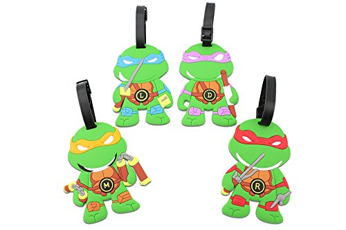 Finex - Set of 4 - TMNT Teenage Mutant Ninja Turtles Travel Luggage Tags Bag (3 Person Halloween Costume Group)