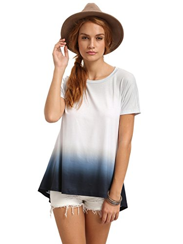 c78a4ab790da0 ... Dresses/Romwe Women's Tunic Swing T-Shirt Dress Short Sleeve Tie Dye  Ombre Dress. Sale!