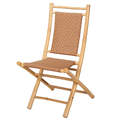 Heather Ann Creations Bamboo Folding Chairs with Diamond Weave, Pack of 2, Natural and Tan by Heather Ann Creations