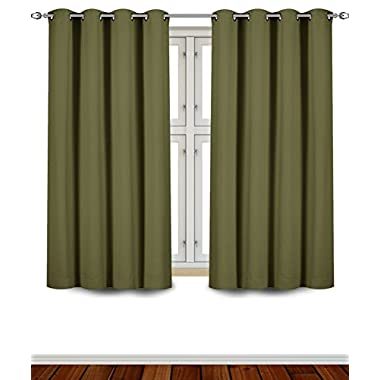 Utopia Bedding Grommet Top Thermal Insulated Blackout Curtains, Set of 2 Panels, 8 Grommets / Rings per panel, 2 Tie Back incuded, Standard Length, 52  Width x 63  Length, Reduces Heating and Cooling Costs, Blocks Light for a Restful Night's Sleep, Protects Rugs and Furniture from Fading (Beige) - Indoor