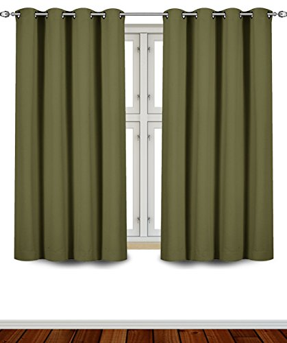 Blackout Room Darkening Curtains Window Panel Drapes - (Olive Color) 2 Panel Set - 52 Inch Wide by 63 Inch Long each Panel - 8 Grommets / Rings per Panel - 2 Tie Back Included- By Utopia Bedding