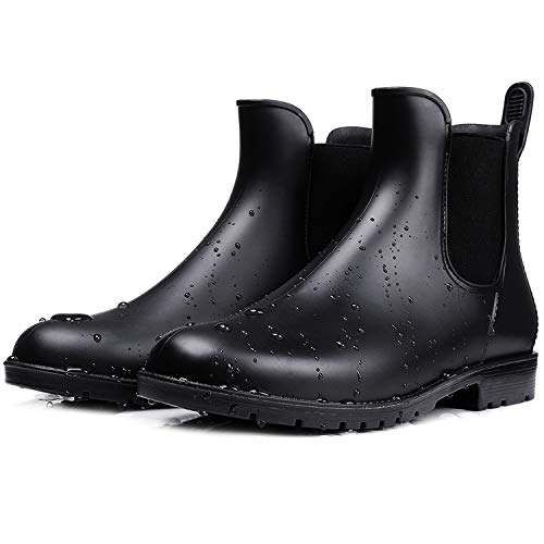 smiry Women's Short Rain Boots Waterproof Anti Slip Rubber Ankle Chelsea Booties B37 Black
