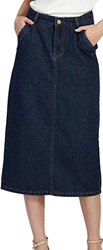 Littler Store Women Slim Fit Classic Denim Workwear Midi Length Skirt BlueX-Small