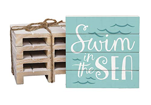 Swim In The Sea Aqua Waves 4 x 4 Inch Dried Pine Wood Pallet Coaster, Pack of 4